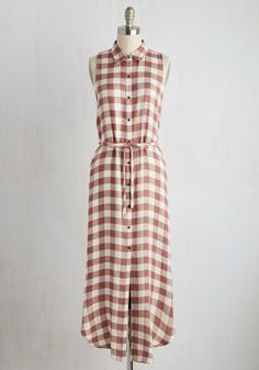 Demure Where That Came From Dress by BB Dakota - Red, Tan / Cream, Solid, Checkered / Gingham, Casual, Shift, Shirt Dress, Sleeveless, Spring, Woven, Better, Long