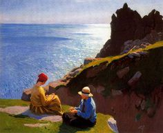 Dame Laura Knight (English, Impressionism, 1877-1970): On the Cliffs, 1917. Oil on canvas, 63.5 x 76 cm (25 x 30 inches). Private Collection.  Of Interest: http://en.wikipedia.org/wiki/Laura_Knight — with Enrique Trzcinski.