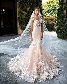 Magbridal Glamorous Tulle Jewel Neckline See-through Bodice Mermaid Wedding Dresses With Lace Appliques - weddingdresses Western Wedding Dresses, Wedding Dress Trends, Sexy Wedding Dresses, Elegant Wedding Dress, Cheap Wedding Dress, Designer Wedding Dresses, Bridal Dresses, Wedding Gowns, Lace Wedding
