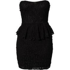 Club L Lace Detail Peplum Dress ($35) ❤ liked on Polyvore featuring dresses, vestidos, short dresses, robe, black, party dresses, womens-fashion, tall black dress, black dress and lace detail dress