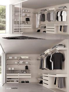 closet armario tipo vestidor con columnas de aluminio rinconero y