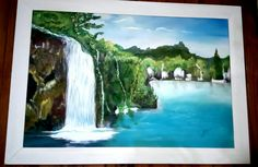 Pintura decorativa- cascada- cuadro realizado en oleos y acrilicos sobre bastidor-