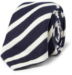 Alexander Olch Striped Knitted Cotton Tie | MR PORTER