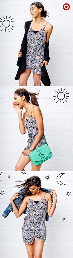 Get serious mileage out of one romper with a few simple styling switch ups. Start a chilly morning by covering up with a cardigan and ditching it for a chic handbag later in the day. Dress it up in the evening with a denim jacket and jewelry.