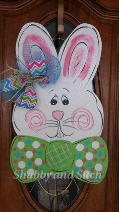 Easter Bunny Rabbit Door Hanger Hand by shabbyandsuchdesigns, $45.00