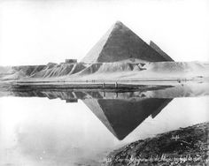 Forgotten Egypt: the pyramid of Khufu and its reflection in the waters of the Nile's inundation, in a photograph by F. Bonfils from approximately 1880 (Gr. Inst. photo 3273).   The Griffith Institute is in possession of one of the largest collections of 19th-century 'studio photographs' of Egypt