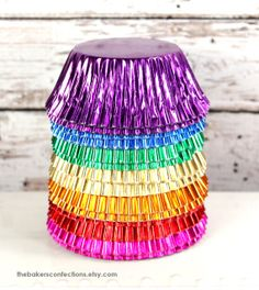 Rainbow FOIL Cupcake Liners count - 10 each),