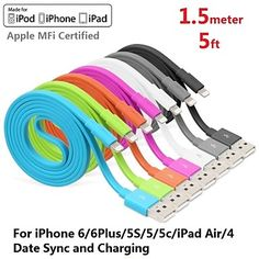 Assorted Colors Apple MFi Certified Lightning to USB Data Sync Charger Flat Cable for iphone 6/6plus/5s/5/ipad(150cm) – USD $ 11.99
