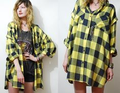 90s Vintage PLAID Shirt CHECK Oversized Blouse GRUNGE Yellow/Black Flannel Man-style 1990s vtg Chest pockets L