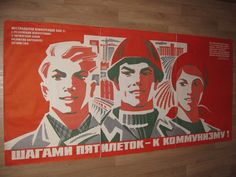 Original Vtg 1979 Huge 3 Part Soviet Russian Communism Lenin's Propaganda Poster | eBay