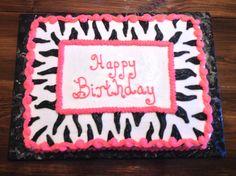 Zebra and hot pink birthday cake