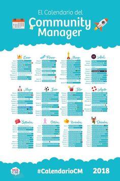 Calendario del Community Manager para 2018 Aula CM #redessociales #communitymanager #twitter #tuits #tweets #novedades #tendencias #socialmediamarketing #socialmedia #marketing #socialmediatips #social #instagram #socialmediamarketingtips #marketingdigital