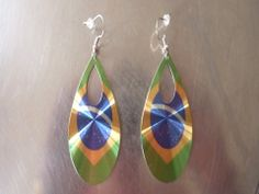 1 Paire de boucle d'oreille ovale drapeau Brésil : Supports boucles d'oreilles par teo-et-noa-bijoux