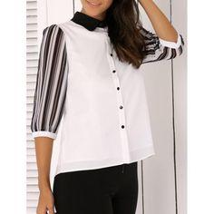 Shirt Collar Striped Chiffon Blouse