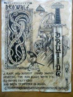 """The sword """"Hruting"""" from Beowulf fights the dragon... - Viking, Celtic, Nature stuff"""