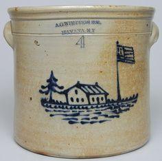 A.O. WHITTEMORE. / HAVANA. N.Y. Stoneware Crock w/ House -- c.1870