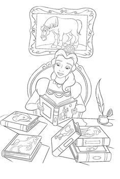 Princess Belle Reading Book Coloring Pages
