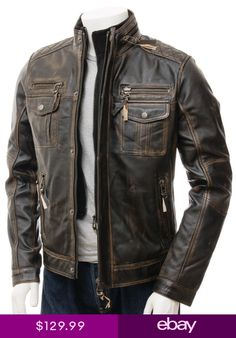 371860834 7 Best Mens Biker Vintage Motorcycle Distressed Black Cafe Racer ...