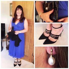 Blue Dress, Black Heels and Pearl Earrings- Mummabstylish