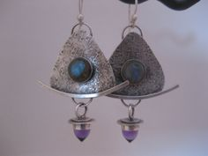 Labradorite and Amethyst Bullet Earrings by StrawberryFrog on Etsy