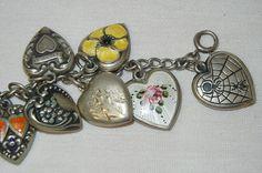 Vintage 1940s Sterling puffy heart charm bracelet