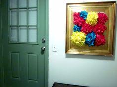 framed tissue paper poms // DIY wall decor