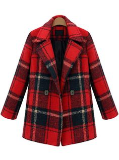 Red Lapel Long Sleeve Plaid Woolen Coat 56.67