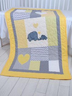 Elephant Crib Quilt, Gray Yellow Baby Bedding, Chevron Quilting, Baby Boy Patchwork Blanket from Custom Quilts by Eva. Saved to BABY QUILT BLANKETS. #elephant #grayandyellow #chevron #babyblanket.