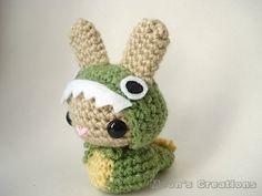 Dino Moon Bun - Amigurumi Bunny Rabbit in Dinosaur Pajamas.