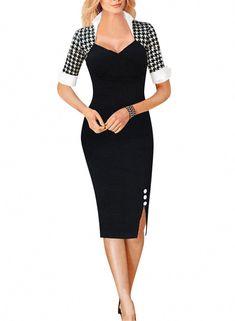 2c8b1dee1556 Senfloco Women s Vintage Rockabilly Pinup Party Business Pencil Dress Size S