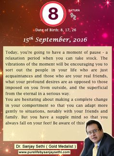 #NumerologyPrediction for #15thSeptember2016 by #DrSanjaySethi World's No.1 #AstroNumerologist
