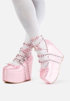 Pink Heels, Lace Up Heels, Wedge Heels, Ballet Heels, Pointe Shoes, Shoes Heels, Punk Boots, Pink Doll, Clear Heels
