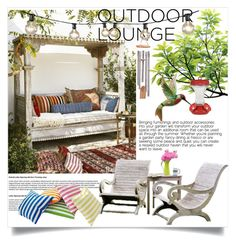 """""""Summer Outdoor Lounge"""" by clotheshawg ❤ liked on Polyvore featuring interior, interiors, interior design, home, home decor, interior decorating, Serena & Lily, Bulbrite, NOVICA and Perky-Pet"""