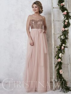 Christina Wu Celebration 22725 is an elegant convertible bridesmaid gown that shows off a fully sequined bodice with a sweetheart neckline. Two long tulle straps attached at the waist act as an overlay to the sequin bodice, with endless options for tying. Sequin Bridesmaid Dresses, Bridesmaid Dress Styles, Dressy Dresses, Wedding Bridesmaids, Bridal Dresses, Prom Dresses, Wedding Attire, Formal Dress, Bridesmaid Jewelry