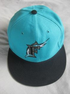 Used New Era 5950 Florida Marlins Fitted Hat Size 7 3/8 Diamond Collection