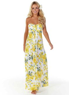 strapless flowery maxi dress