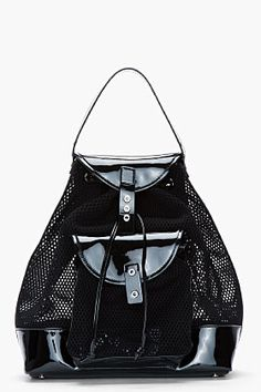 Versus Black Patent And Mesh Backpack for women  4f552bd9895a4