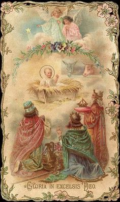 Old Christmas Post Сards — The Nativity (448x750)