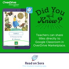 Discover Sora, the student reading app.   Educators can discover all that Sora has to offer with a 60-day free trial and access to 100+ Juvenile and Young Adult titles in three easy step