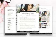 Blogger Media Kit Template | 3 Pages by By Stephanie Design on @creativemarket