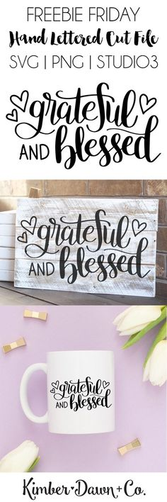 Hand Lettered Grateful and Blessed Free SVG Cut File for use with Silhouette and Cricut Machines Cricut Fonts, Cricut Vinyl, Cricut Air, Cricut Monogram, Silhouette Cameo Projects, Silhouette Design, Vinyl Crafts, Vinyl Projects, Wood Crafts