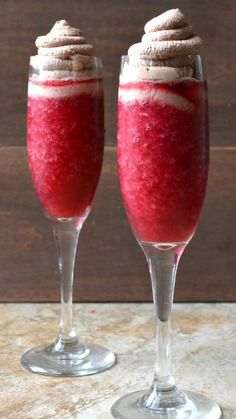 Raspberry Red Wine Slushy with Chocolate Whipped Cream ~ the ULTIMATE girls night drink!