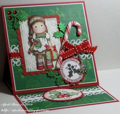 Tilda with Candy Canes and Holly by April Rose - Cards and Paper Crafts at Splitcoaststampers