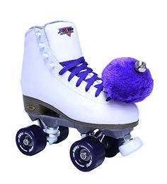 SureGrip White Fame Skates with Purple Pom Poms >>> Details can be found by clicking on the image. This is an Amazon Affiliate links.