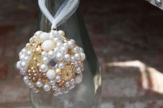 Glamorous and Chic Pearl Embellished Round Ornament that is one-of-a-kind.