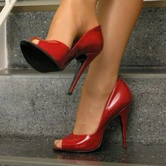 Sexy Red Peep Toe Stiletto High Heels Pumps Woman Slip On Hollow Out Party Dress Shoes Office Ladies Daily Footwear Pumps Black Stiletto Heels, Red High Heels, Peep Toe Heels, High Heels Stilettos, Pantyhose Heels, Stockings Heels, Stockings Lingerie, Heels Outfits, Hot Heels