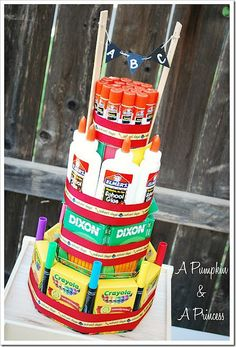 Back To School Supply Cake - would be the hit of the classroom, or even a fabulous centerpiece at a PTA/PTO meeting.