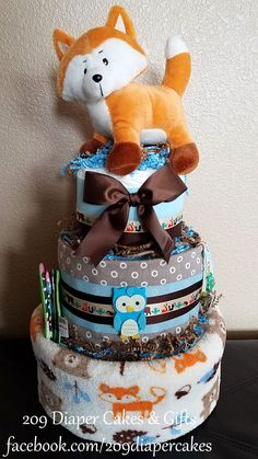 Woodland Friends & Fox Diaper Cake by 209 Diaper Cakes & Gifts - facebook.com/209diapercakes