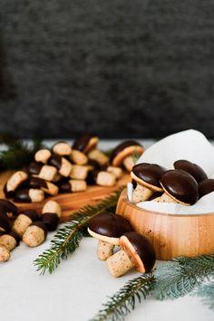 chocolate walnut mushroom cookies and log cookies