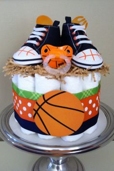 Orange, Blue and Green Basketball Mini Diaper Cake - Baby Boy Shower Gift, Single Tier Baby Shower Gifts For Boys, Baby Shower Fun, Baby Shower Themes, Baby Shower Decorations, Shower Ideas, Baby Showers, Mini Diaper Cakes, Diaper Cake Boy, Cake Baby